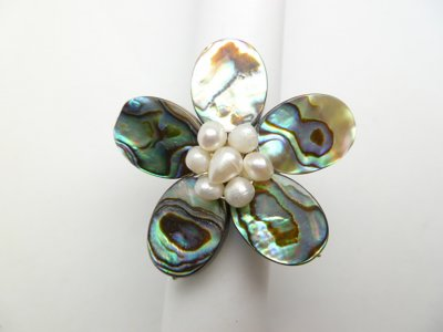 35 mm Abalone Flower Shell with White Fresh Water Pearls Ring