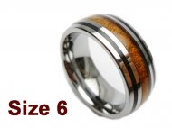 (Size 6) 8mm 316L Stainless Steel with Koa Wood Inlay