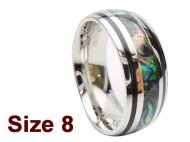 (Size 8) 8mm Abalone Shell Stainless Steel Ring