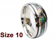 (Size 10) 8mm Abalone Shell Stainless Steel Ring