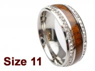 (Size 11) 8mm Koa Wood Stainless Steel Ring w/C.Z.Stone