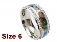 (Size 6) 8mm Abalone Shell Stainless Steel Ring w/C.Z.Stone