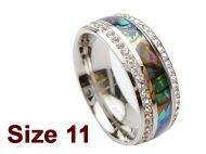 (Size 11) 8mm Abalone Shell Stainless Steel Ring w/C.Z.Stone