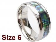 (Size 6) 8mm Abalone Shell Stainless Steel Ring