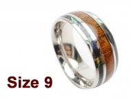 (Size 9) 8mm 316L Stainless Steel with Koa Wood Setting Ring w/A