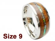 (Size 9) 8mm Abalone Shell & Koa Wood Stainless Steel Ring
