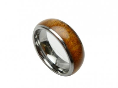 8mm 316L Stainless Steel w/ Koa Wood Setting Ring Size 5 to 14