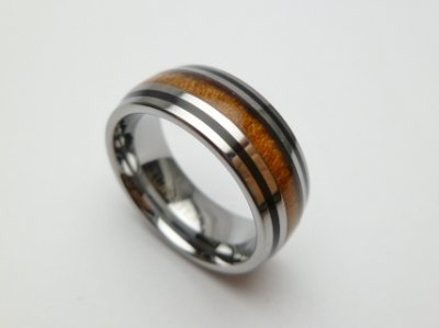 8mm 316L Stainless Steel with Koa Wood Setting Ring Size 5 to 14