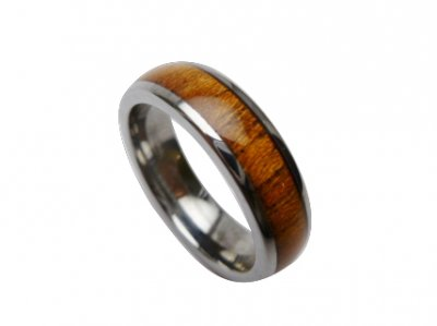 6mm Tungsten with Koa Wood Setting Ring Size 6 to 14