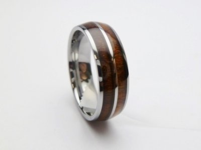 6mm Tungsten with Koa Wood Setting Ring