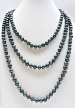 Black 7-8mm Genuine Round Fresh Water Pearl Necklace 64""