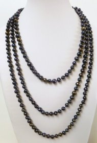 Black Rice Shape 7-8mm Fresh Water Pearl Necklace 32""