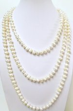 White 7-8mm Fresh Water Pearl Round Necklace 64""