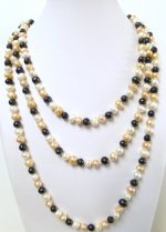 Multi-Color 7-8mm Genuine Round Fresh Water Pearl Necklace 64""