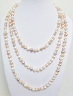 "64"" Potato White Rainbow 7-8mm Fresh Water Pearl Necklace"