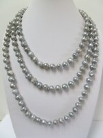 "60"" Round Grey 9-10mm Fresh Water Pearl Necklace"