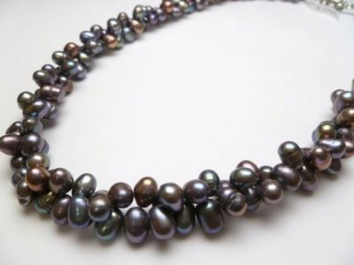 Black Double Twist Fresh Water Pearl Necklace 18""