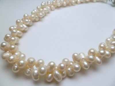 White Double Twist Fresh Water Pearl Necklace 18""