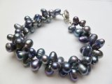 Black Double Twist Fresh Water Pearl Bracelet