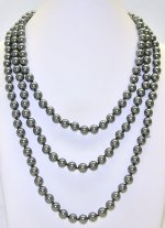 "8mm Dark Silver Color Shell Pearl 64"" Necklace"