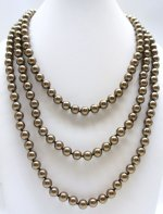 "8mm Chocolate Color Simulated Shell Pearl 64"" Necklace"