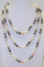 "8mm Multi-5 Color Simulated Shell Pearl 64"" Necklace"