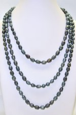 Black Rice Shape 7-8mm Fresh Water Pearl Necklace 64""
