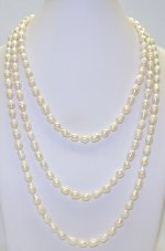 White Rice Shape 7-8mm Fresh Water Pearl Necklace 64""
