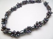 Black Genuine Twisted Fresh Water Pearl Necklace 18""