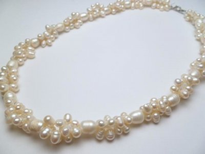 White Genuine Twisted Fresh Water Pearl Necklace 18""