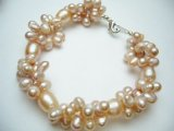Lavender Twisted Fresh Water Pearl Bracelet 8.5""