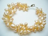 Peach Twisted Fresh Water Pearl Bracelet 8.5""