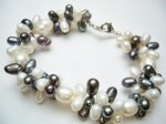 Black & White Twisted Fresh Water Pearl Bracelet 8.5""
