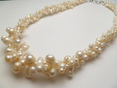 White Genuine Fresh Water Pearl Necklace 18""
