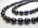Black Rice Shape 10-11mm Fresh Water Pearl Necklace 64""