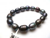 Black 10-11mm Rice Shape Fresh Water Pearl Stretchy Bracelet