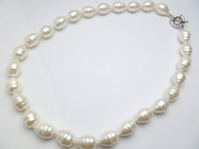 12 mm x 15 mm MOP White Shell Pearl Necklace