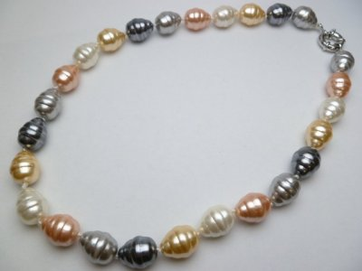 12 mm x 15 mm MOP Multi Color Shell Pearl Necklace