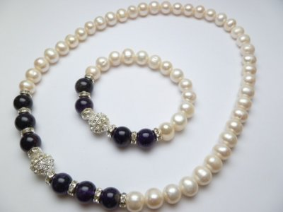Genuine 10mm White Fresh Water Pearls w/ 12mm Dark Purple Stone
