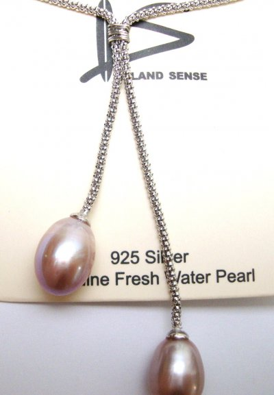 Double Lavender Fresh Water Pearl Pendant w/ 925 Silver Chain