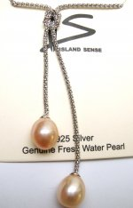 Double Peach Fresh Water Pearl Pendant on 925 Silver Twist Chain