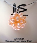 Genuine Clustered Peach Fresh Water Pearl w/925 Silver Box Chain
