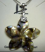 30mm Abalone Shell Plumeria Flower Pendant w/ 925 Silver Chain