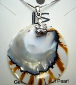 Natural Round Nautilus Shell Pendant w/ 0.7mm 925 Silver Chain