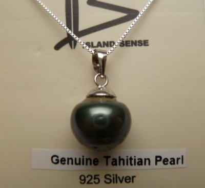 12mm Tahitian Pearl with 925 Silver Cap Silver Box Chain 18""