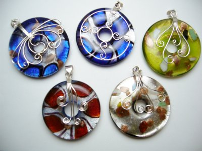 925 Silver Murano 55mm Glass Pendant