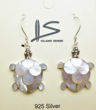 925-Silver 18X20mm White MOP Shell Turtle Dangle Earring