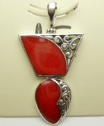 43x28mm Red Coral Pendant w/ 925 Silver