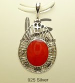 32x22mm Red Coral Pendant w/ 925 Silver