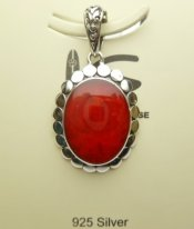 23x19mm Red Coral Pendant w/ 925 Silver
